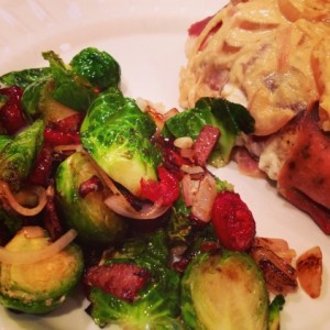 Stuffed Chicken with Brussels Sprouts